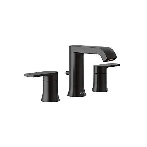 Moen T6708BL Genta LX Two Handle Widespread Modern Bathroom Facuet Valve Required, Matte Black