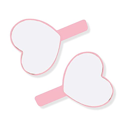 Petit miroir de poche en plastique en forme de cœur pour femme Rose