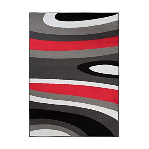 TAPISO Maya - Alfombra Moderna para salón de Color Rojo y Gris con Ondas abstractas, de Pelo Corto, 120 x 170 cm