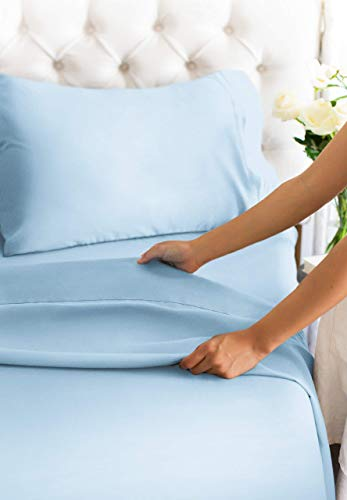 Twin Size Sheet Set - 3 Piece - Hotel Luxury Bed Sheets - Extra Soft - Deep Pockets - Easy Fit - Breathable & Cooling - Wrinkle Free - Comfy - Light Blue Bed Sheets Baby Blue Twins Sheets - 3 PC
