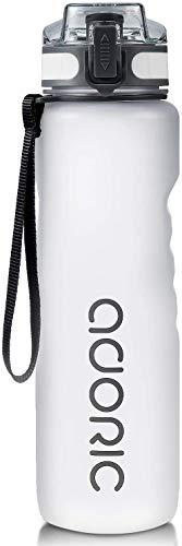 ADORIC Botella Agua Deporte Botella Agua Gimnasio Plastico con Filtro 500ml a 1000ml - No Tóxico sin BPA con Tapa Abatible (Hielo 1000ml)