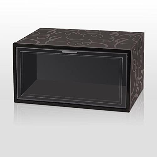 Clamshell - Caja de zapatos apilable para deportes, organizador de zapatos, caja de plástico grueso transparente, estante de exhibición AJ de 33,5 x 24,5 x 17,5 cm, rayas negras