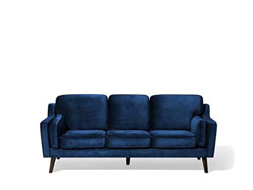 Beliani Trendy Retro Sofa samtstoff in Dunkelblau Couch 3er Sitzer Lokka