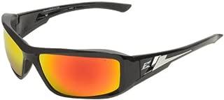 Edge Eyewear XBAP119 Brazeau Safety Glasses, Black with Aqua Precision Red Mirror Lens