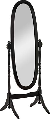 CLP Specchio Autoportante Cora in Legno I Specchio da Terra Ovale con Cornice Specchio Figura Intera 150x50 CM, Colore:Nero