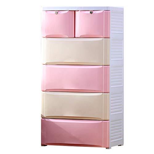 Armoires de Rangement boîte de Rangement, pour Enfants boîte de Rangement en Plastique pour la Maison Placard élégant de Rangement à tiroirs (Color : Pink)