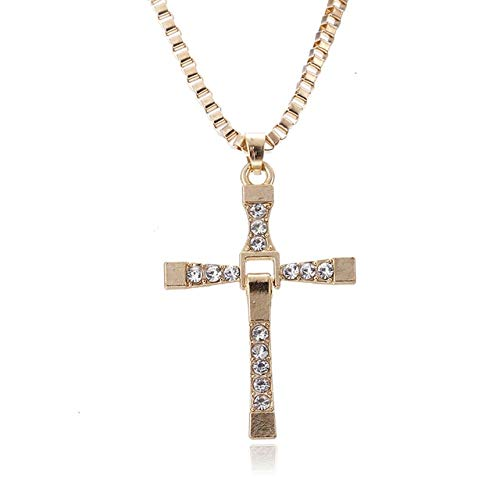 YSSZH New Fast and Furious Dominic Toretto Cross Pendant Necklace for Men Popular Silver Plated Movie Crystal Rope Chain Jewelry Rose Gold Color
