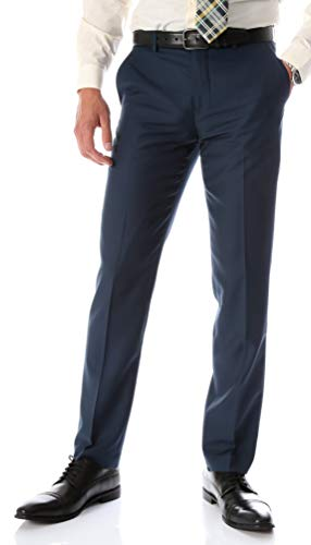 Ferrecci Men's Halo Slim Fit Flat-Front Dress Pants (Navy, 28 Unhemmed)