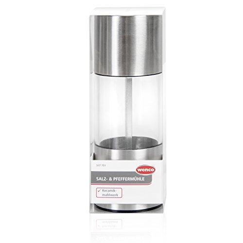 wenco Salz-/Pfeffermühle zum Mahlen von trockenen Gewürzen, Keramikmahlwerk, Rostfreier Edelstahl, Silber/Transparent, 517751
