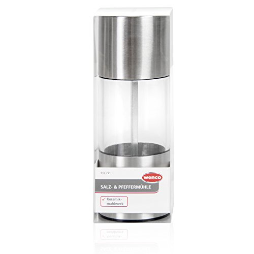 wenco Salz-/Pfeffermühle mit Keramikmahlwerk, Rostfreier Edelstahl/Kunststoff, Silber/Transparent, 517751
