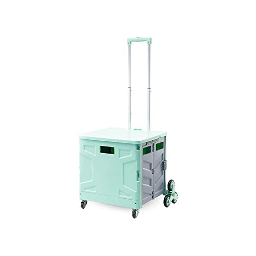 ZLHW Trolleys Foldable Trolley 8 Wheels Household Portable Trolley Trolley Car That Can Climb Stairs Shopping Cart That Can Sit (Color :Green