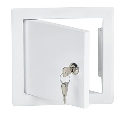 15x15 cm Revisionsklappe Revisionstür Revisionsschacht Weiß Wartungsklappe mit Schloss - 150x150 mm