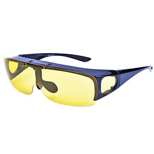 Br'Guras オーバーグラス 偏光 ナイト サングラス 夜間運転/夜釣り 雨や曇りの日にも良い視界に ナイトドライブ用サングラス ドライブサングラス 跳ね上げ式レンズ イエローレンズ ナイトビジョン メガネの上から (タイプ_A)