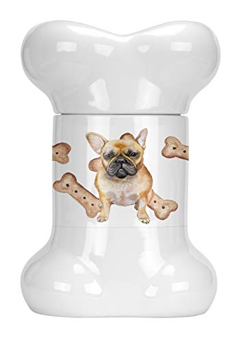 Caroline's Treasures CK2268BSTJ Frenchie French Bulldog Bone Shaped Treat Jar, multicolor