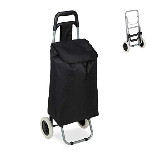 Relaxdays Einkaufstrolley, klappbar, 25 L Einkaufstasche mit Rollen, bis 10 kg belastbar, HBT: 91 x 40 x 30 cm, schwarz