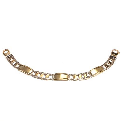 14K giallo e oro bianco Rolex Link bracciale da uomo, 21,6cm