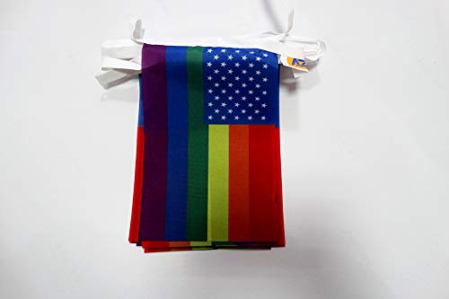 AZ FLAG Guirnalda 6 Metros 20 Banderas Arco Iris Estados Unidos 21x15cm - Bandera Americana Rainbow - Gay 15 x 21 cm - BANDERINES