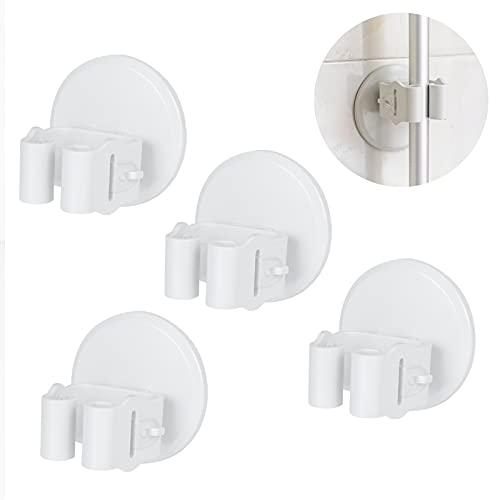 YuuShuuuRei - Soporte de pared para escobas y fregonas, 4 unidades, soporte de pared, gancho adhesivo transparente, sin agujeros, máx. 5-8 kg, color blanco