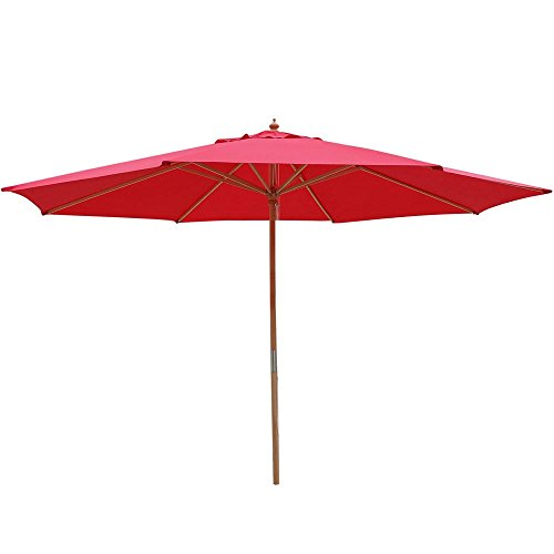 Yescom 13ft XL Outdoor Patio Umbrella w/German Beech Wood Pole Beach...