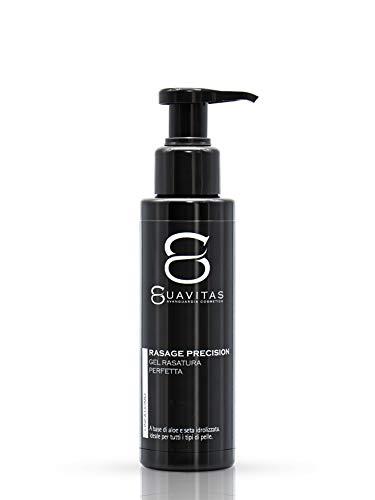 Suavitas Rasage Precision - Gel Rasatura trasparente per depilazione uomo viso, collo, testa, ascelle, petto e zone delicate. A base di Glicerina, Aloe Vera, Acido Ialuronico e Proteine della Seta
