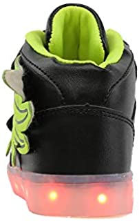 Hopscotch Boys and Girls Leather Wings High Top USB Rechargeable Sneakers - Green