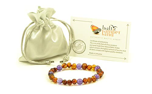 Bracciale in vera ambra baltica e ametista, unisex,per adulti, fatto a mano con perle di ambra baltica naturale, colore: verde chiaro, 18-20 cm e ambra., cod. L13-8A