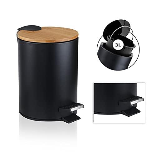 JOLIGAEA 3L Cubo Cosmético, Papelera Cosmética, Tapa de Madera de Bambú con Sistema de Descenso Automático, Ubo de Basura para Baño, con Antihuellas Dactilares y Pedales de Confort, Negro