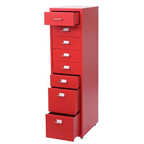Mendler Cassettiera armadietto Ufficio Boston T851 con Ruote 8 cassetti 109x28x44cm Rosso