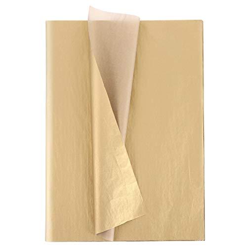 Xinstroe 100Blatt Metallic Geschenkverpackung Tyrant Gold Seidenpapier Bulk für Hochzeiten, Geburtstagsfeier, Duschen, Kunsthandwerk, Diy, Weihnachten