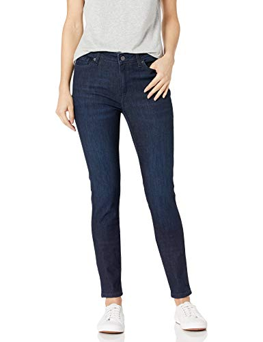 Amazon Essentials Women's Mid-Rise Skinny Jean, New Dark Wash, 14 Short