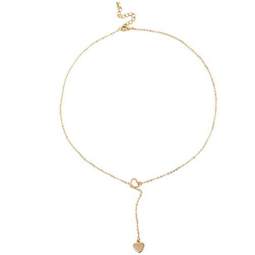QWERBAM La Moda de joyería de Moda de Anillas de Cobre del Acoplamiento del corazón Collar de Regalo for Las Mujeres de la Muchacha (Metal Color : Gold)