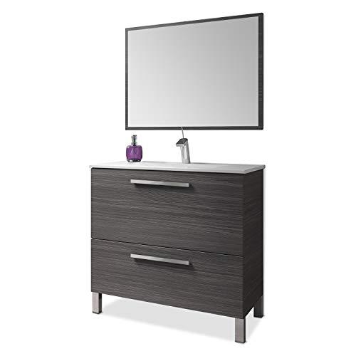 ARKITMOBEL 305412G - Mueble de baño Urban, módulo de Lavabo con Espejo Color Gris Ceniza, Medidas: 80 x 80 x 45 cm de Fondo