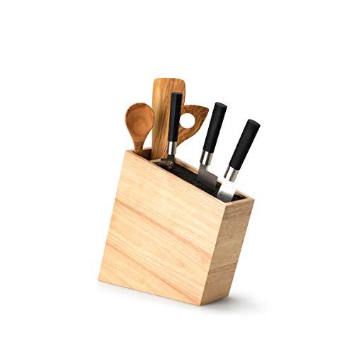 Continenta Kitchen Accessories 3317 Küche Zubehör Messerblock mit flexibel Einsetzen inkl. Utensilien Bin, hellbraun, Holz