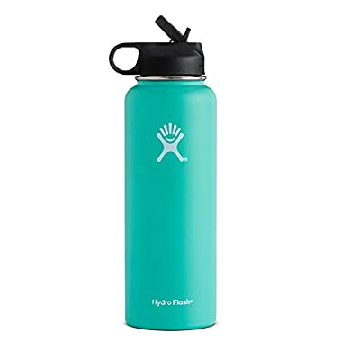 Hydro Flask Vacuum Insulated Stainless Steel Water Bottle Wide Mouth with Straw Lid (Mint, 40-Ounce)