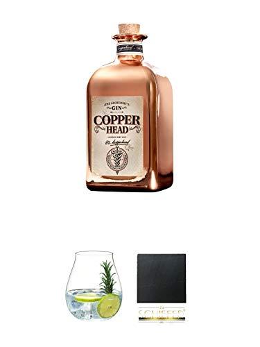 Copperhead The Alchemist Gin 0,5 Liter + Gin Tonic Glas - 5414/67 + Schiefer Glasuntersetzer eckig ca. 9,5 cm Durchmesser