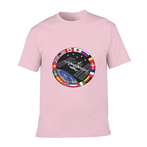 XHJQ88 Niño Estación Espacial Internacional NASA Algodón Camiseta Moda Cuello Redondo -Brillante Top para Ciclismo