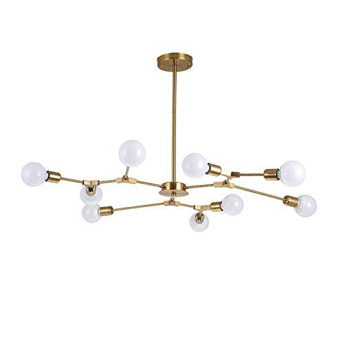 E27 Molecular Lámpara De Araña,Nórdico Metal Sencillo Lámpara Colgante,Moderno Creativo LED Lámpara Plafón,Para Restaurante Sala Dormitorio-Oro electroplacado 9 luces