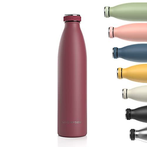 Lars NYSØM Botella de Acero Inoxidable de 1000ml   Botella aislada 1l sin BPA   Botella de Agua 1 litro a Prueba de Fugas para Deportes, Bicicleta, Perro, bebé, niños