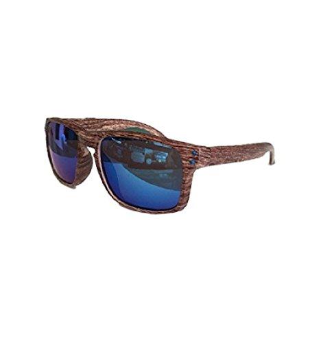 Ducomi Pmadera – Gafas de Sol Efecto Madera Para Hombre y Mujer – Montura Rectangular con Impresión de Madera – Lentes de Colores con Espejo o Matizadas, Protección UV 400 Color 1 Talla Unica