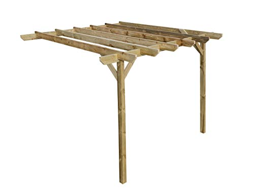 Wooden Garden Lean-to Pergola Kit - Chamfered Design Shade Canopy Gazebo (1.8m x 1.8m, Rustic brown)