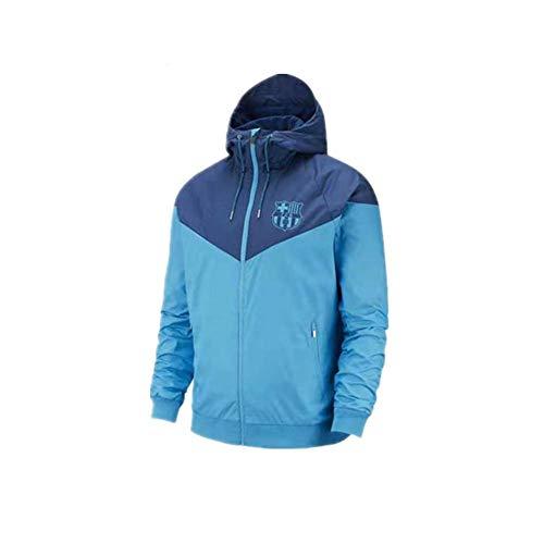 New Football Training Jacket Barcelona Windbreaker Sun Protection Suit Windbreaker Coat Men Sportswear Spring Autumn Blue