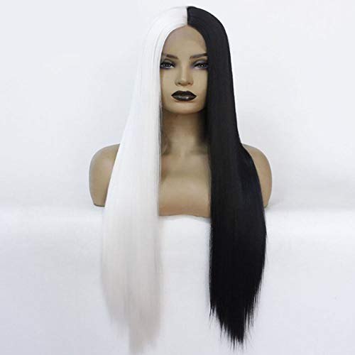 Half Black Half White Lace Front Wigs Long Straight Synthetic Glueless Wig for Women Heat Resistant Daily Cosplay Makeup Replacement Hair 24 inch