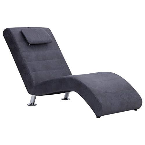 UnfadeMemory Chaiselongue Relaxliege mit Kissen Relaxsessel Liege zum Entspannen Wohnzimmer Loungesessel 144 x 59 x 79 cm, Holzrahmen und Bezug in Wildleder-Optik (Grau)
