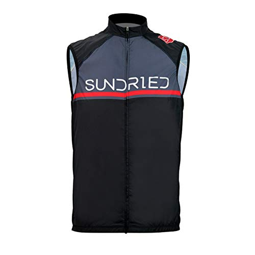 Sundried Pro Cycling Chaleco Impermeable Ligera Chaleco de Ciclismo Deporte Chaleco de Ciclismo y Carrera (Negro, XXL)
