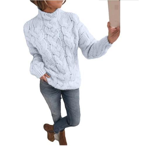 Maglioni Larghi a Collo Alto Casual alla Moda da Donna Maglioni Classici a Maniche Lunghe in Tinta Unita, Comodi Maglioni Pullover a Camicetta con Tutti i fiammiferi L