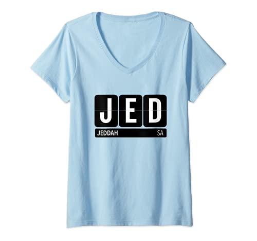 Mujer JED Jeddah Arabia Saudita recuerdo de viaje texto blanco Camiseta Cuello V