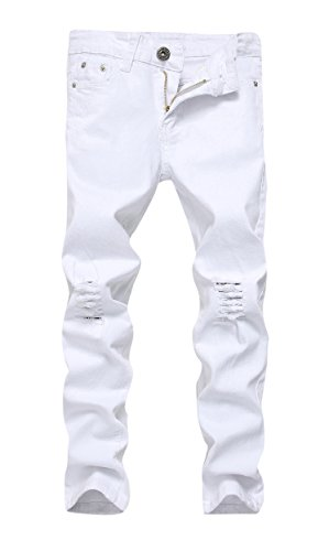 Boys White Skinny Fit Ripped Destroyed Distressed Stretch Slim Jeans Pants, Size 10