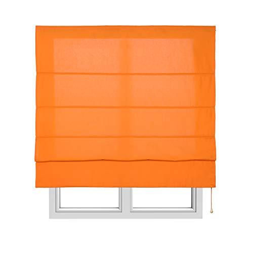 Stores Deco Klapprollo mit Stangen, durchscheinende Jalousie für Fenster und Türen (150 cm x 175 cm, orange)