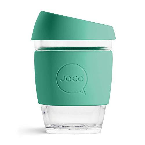 Joco Kaffeebecher aus Glas, wiederverwendbar, 340 ml mint