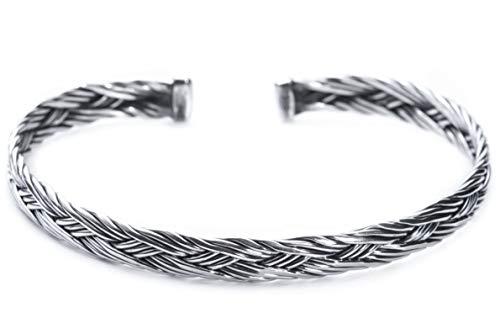 Windalf Vintage Handmade Vikings armband Asgard Ø 6,8 cm Ethno Bohemia armsieraad gevlochten patroon armband vriendschap zilveren armband 925 sterling zilver